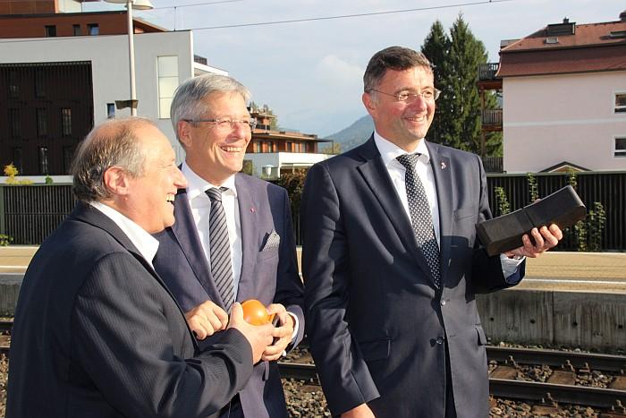 v.l. LR Rolf Holub, LH Peter Kaiser und Verkehrsminister Jörg Leichtfried